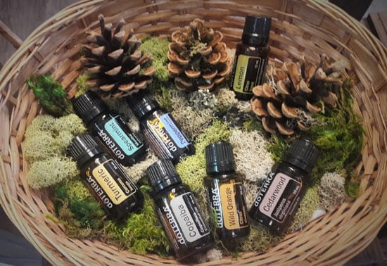 a basket full of essential oils for sale at Nutrifarmacy in Pittsburgh's North Hills