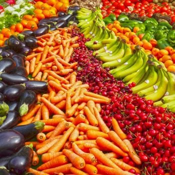 many fruits and vegetables of all colors